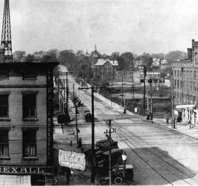 Looking West toward Main Street bridge
